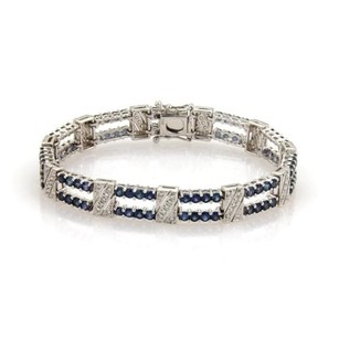 6.60ct Sapphire Diamond 18k White Gold Milgrain Fancy Link Bracelet 6.25 Long