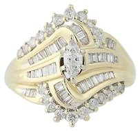 Diamond Ring - 14k Yellow White Gold Bypass Marquise Cut 1.00ctw