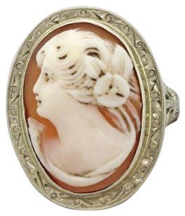 1930s Antique Art Deco Estate 14k White Gold Carved Coral Cameo Filigree Ring
