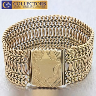 Antique Victorian 14k Yellow Gold 28mm Wide Mesh Chain 38.4g Inch Bracelet