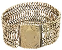Other Antique Victorian 14k Yellow Gold 28mm Wide Mesh Chain 38.4g Inch Bracelet