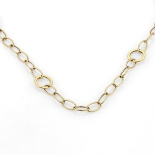 Vintage 14k Yellow Gold Oval Circle Link Long Necklace 72