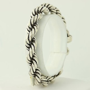 Rope Chain Bracelet 7 - Sterling Silver Toggle Clasp Wide Womens