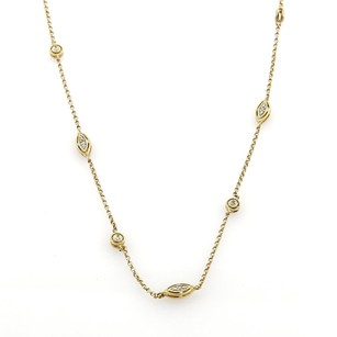 Estate Diamonds By The Yard 14k Two Tone Gold Fancy Long Chain Necklace 36