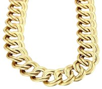 Italy 18k Yellow Gold Double Fancy Circle Link Wide Collar Necklace 113 Grams