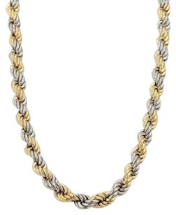 Other Platinum 18k Yellow Gold Twisted Rope Chain Necklace 15.5