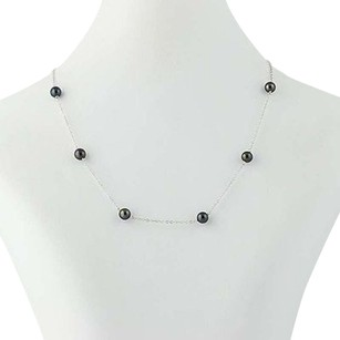 Black Freshwater Pearl Necklace - 14k White Gold 14.5 6mm Womens Cable Chain