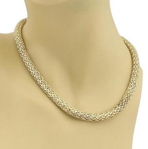 Other 18k Yellow Gold Fancy Woven Dome Shape Choker Necklace 69 Grams 17