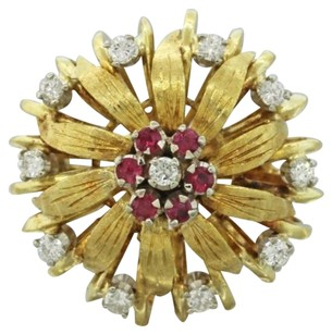 1960s Vintage Retro Estate Womens 18k Yellow Gold Ruby Diamond Flower Ring