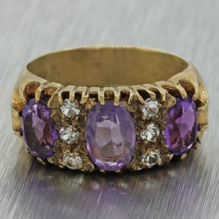 1940s Antique Vintage Estate 9ct Solid Yellow Gold Amethyst H Si2 Diamond Ring