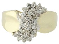 Other Diamond Cluster Ring - 10k Yellow Gold Tiered Round Brilliant Cut .50ctw