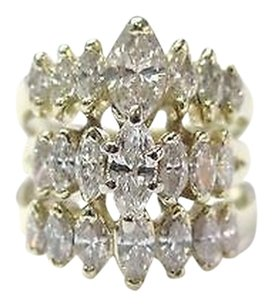 Fine Marquise Diamond Cluster 3-row Yellow Gold Jewelry Ring 2.16ct