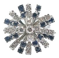 Fine Round Cut Diamond Sapphire Cluster Jewelry Ring Wg 1.20ct