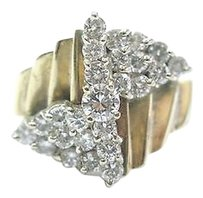 Other Fine Round Cut Diamond Cluster 25-stone Yellow Gold Ring 1.00ct Sz 9