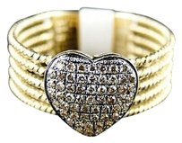 14k,Womens,Ladies,Yellow,Gold,Pave,Brown,Diamond,Promise,Heart,Ring,14,Ct