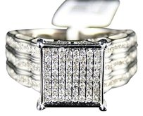 Ladies,10k,White,Gold,Xl,Pave,Round,Diamond,Engagement,Wedding,Band,Ring,12,Ct