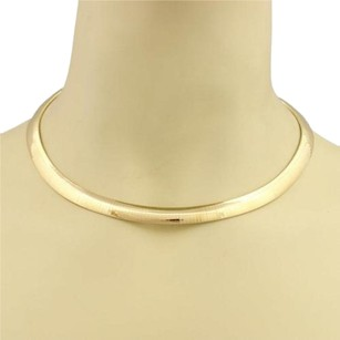 Other Italy 14k Yellow Gold Curved Omega 9mm Wide Collar Necklace 15.5 Long