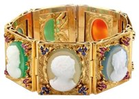 Other Vintage 18k Yellow Gold 4.40ctw Sapphire Rubies Multi Cameo Wide Bracelet