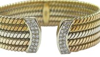 18kt,3-color,Diamond,Cuff,Bracelet,.85ct,19.6mm,Wide