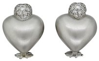 Other Marlene Stowe Designer 18k White Gold Pave Diamond Double Heart Earrings