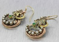 1880s Antique Victorian 10k Yellow Green Rose Gold Emerald Pearl Flower Earrings