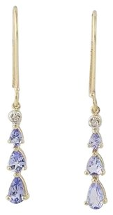 Tanzanite Diamond Drop Earrings - 10k Yellow Gold Journey Pierced .86ctw