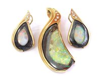 Other 18kt Opal Diamond Pendant Earrings Yellow Gold .50ct