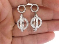 18kt,Round,Cut,Diamond,Dangling,White,Gold,Earrings,1.50ct,