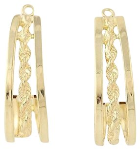 J-hook Earring Enhancers - 14k Yellow Gold Rope Design Michael Anthony