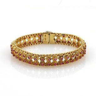 18k Yellow Gold 3.50ct Ruby Double Row 11mm Wide Floral Link Bracelet