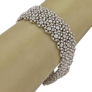 Other Estate 4.35ct Diamond 14k White Gold 34 Wide Bead Floral Flex Bracelet