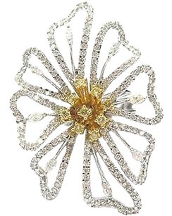 18kt,Big,Flower,Diamond,White,Gold,Jewelry,Ring,2.60ct