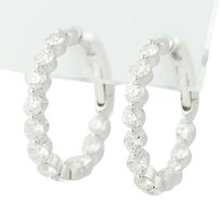 Inside-out Diamond Hoop Earrings - 18k White Gold Pierced 2.03ctw
