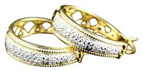 Other Womens,Ladies,Yellow,Gold,Finish,Rounnd,Cut,Diamond,Pave,Hoops,Earrings,22,Mm