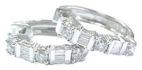 Other Fine Round Baguette Diamond White Gold Huggie Earrings .85ct 34