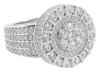 Sterling Silver Mens Rings Round Design Solitaire Lab Diamonds White Gold Finish