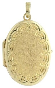 Etched Oval Locket - 14k Yellow Gold Double Photo Frame Opens Keepsake Love Gift