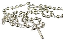 10k,White,Gold,Rosary,Diamond,Cut,Necklace,Chain,304.5