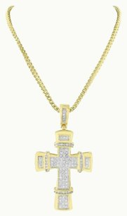 Other Cross Pendant Necklace Set 14k Yellow Gold Finish Stainless Steel Necklace