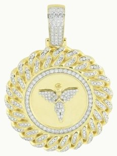 Other Miami Cuban Angel Pendant 14k Gold Finish Lab Created Diamonds Sterling Silver