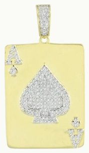 Ace Of Spades Pendant Gold Over Sterling Silver 925 Lab Created Diamond 1.9 Inch
