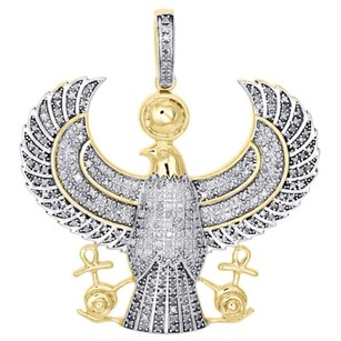 10k Yellow Gold Real Diamond Pendant Navy Seal Eagle Mens Pave Charm 1.50 Ct.