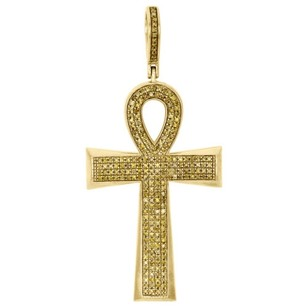Other 10k Yellow Gold Canary Diamond Egyptian Ankh Cross Pendant 2 Pave Charm 0.55 Ct