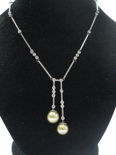 Other Fine South Sea Pearls Diamond 14kt White Gold Drop Necklace 10.6-11mm 2.00ct