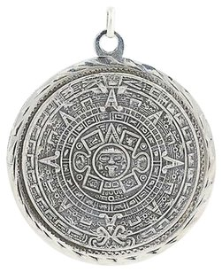 Mayan Calendar Pendant - Sterling Silver Tribal Chunky Round Mexico Unisex