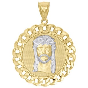 Other 10k Two-tone Gold Jesus Head Diamond Cut Miami Cuban Link 1.90 Medallion Charm
