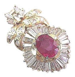 Other 18kt Gem Ruby Baguette Diamond Yellow Gold Ballerina Pendant 3.75ct