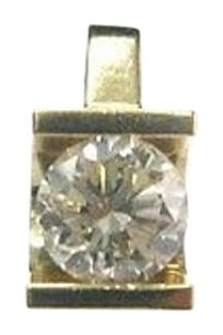 Fine Round Cut Diamond Solitaire Pendant Yg .65ct