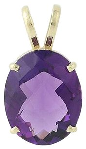 Amethyst Solitaire Pendant - 14k Gold Basket Mount February Gift 3.30ct