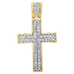 Real Diamond Cross Charm Sterling Silver Yellow Finish 1.10 Dome Pendant 14 Ct